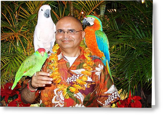 Enjoying Life Mixed Media Greeting Cards - Cant get brighter than this  Artist NavinJoshi in Hawaii travel vacations with trained parrots by p Greeting Card by Navin Joshi