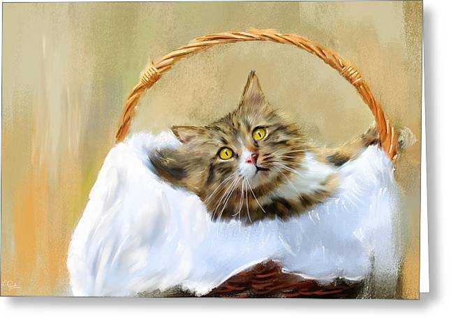 Feline Art Greeting Cards - Cant You See Im Comfy Greeting Card by Lourry Legarde