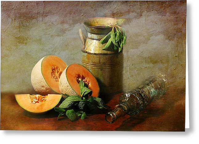 Canned Fruit Greeting Cards - Cantaloupe Greeting Card by Diana Angstadt