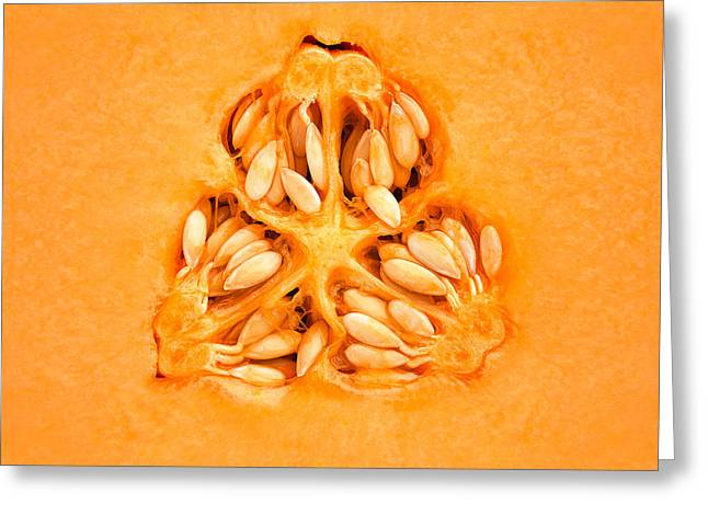 Slices Greeting Cards - Cantaloupe Melon Inside Greeting Card by Johan Swanepoel