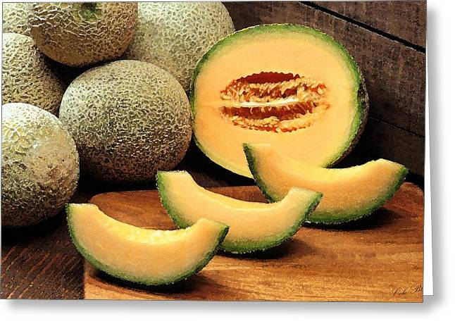 Melon Drawings Greeting Cards - Cantaloupe Slices Greeting Card by Cole Black