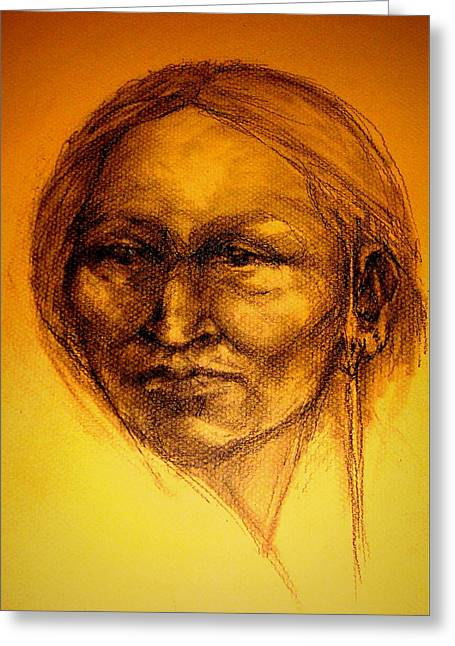 Native American Theme Greeting Cards - Cante Ista - To see with the eye of the heart Greeting Card by Johanna Elik