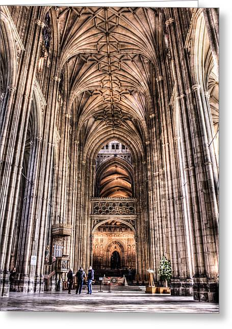 Dome Greeting Cards - Canterbury Cathedral - interior 2 Greeting Card by Ian Hufton