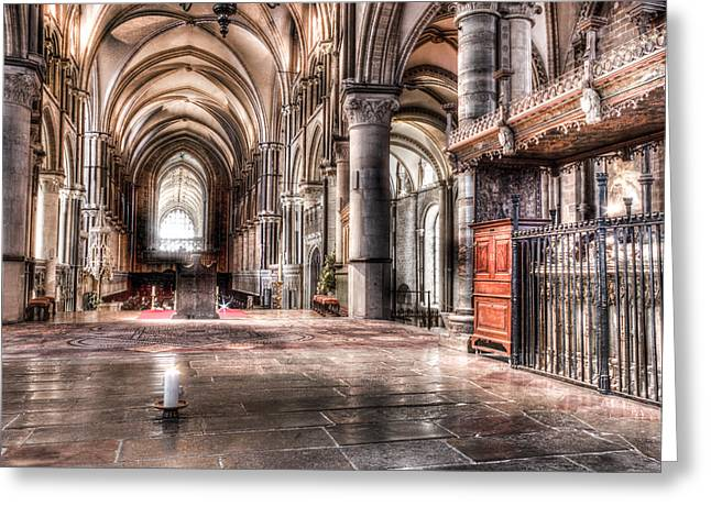 Dome Greeting Cards - Canterbury Cathedral - interior 7 Greeting Card by Ian Hufton