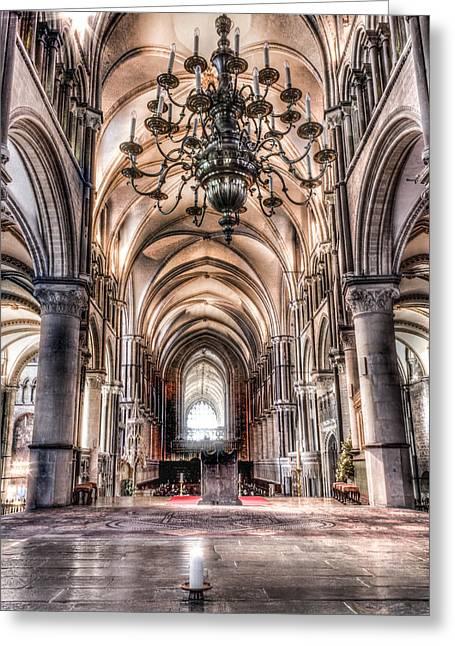 Church Pillars Greeting Cards - Canterbury Cathedral - interior 8 Greeting Card by Ian Hufton