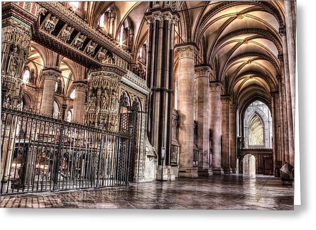 Church Pillars Greeting Cards - Canterbury Cathedral - interior 9 Greeting Card by Ian Hufton