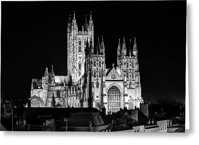 Historic England Greeting Cards - Canterbury Cathedral at Night Greeting Card by Ian Hufton