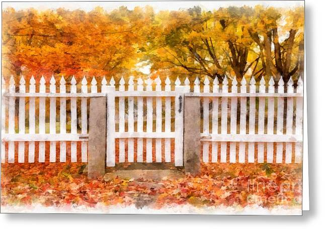 New Hampshire Leaves Greeting Cards - Canterbury Shaker Village Picket Fence  Greeting Card by Edward Fielding