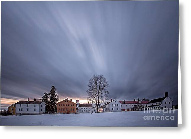 Recently Sold -  - New England Village Greeting Cards - Canterbury Shaker Village Winter Dusk Greeting Card by Scott Snyder