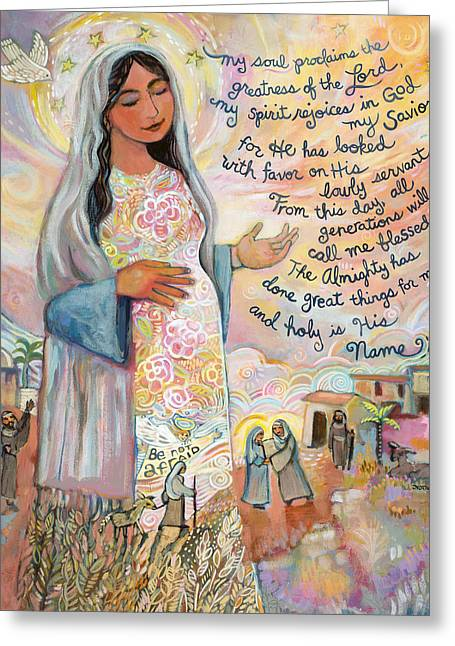 Religious Paintings Greeting Cards - Canticle of Mary Greeting Card by Jen Norton