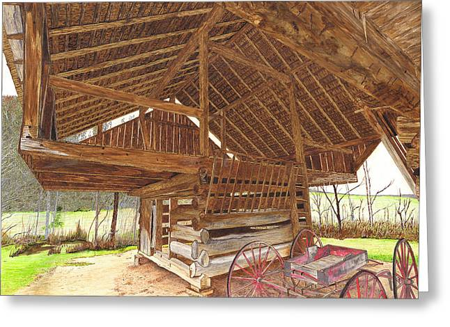 Cantilever Barn Greeting Cards - Cantilever Barn Greeting Card by Cloud Farrow