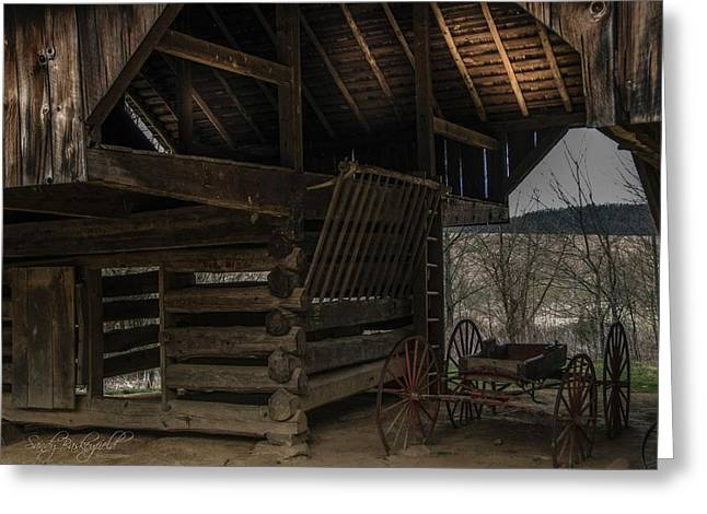Cantilever Barn Greeting Cards - Cantilever Barn Greeting Card by Sandy Baskeyfield