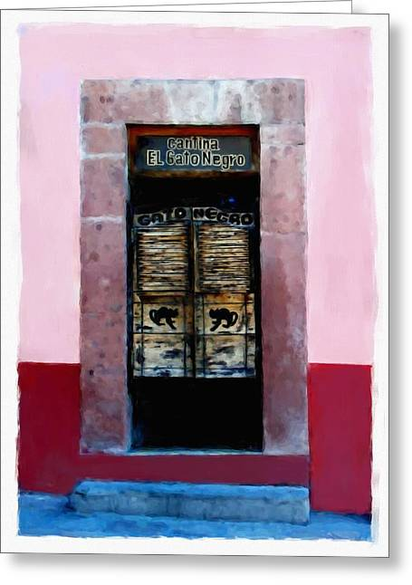 Bar San Miguel Greeting Cards - Cantina El Gato Negro Greeting Card by Britt Cagle