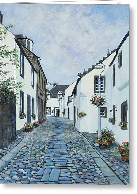 Genealogy Paintings Greeting Cards - Cantle of the Causey at Culross Greeting Card by Stella Turner