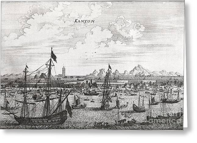 And Merchant Ships Greeting Cards - Canton Harbor, 17th Century Artwork Greeting Card by Middle Temple Library