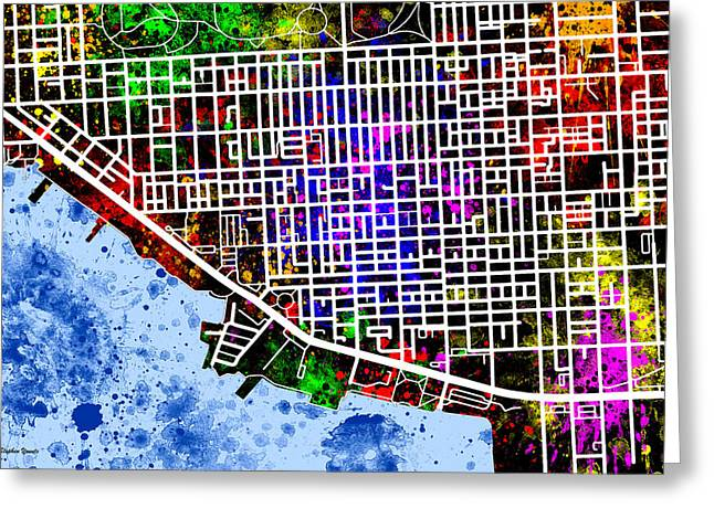 Bos Bos Digital Art Greeting Cards - Canton Map Greeting Card by Stephen Younts
