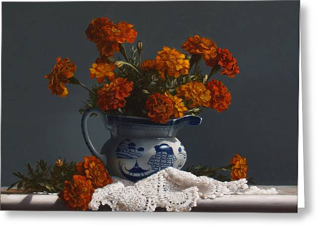 Pitcher Paintings Greeting Cards - Canton Pitcher With Marigolds Greeting Card by Larry Preston