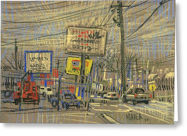 Signed Greeting Cards - Canton Road Businesses Greeting Card by Donald Maier