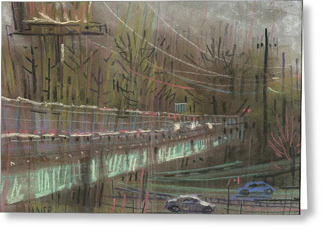 Traffic Drawings Greeting Cards - Canton Road Overpass Greeting Card by Donald Maier