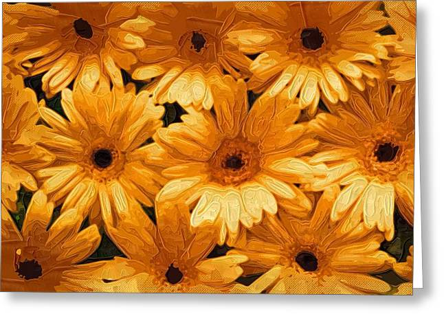 Easter Flowers Greeting Cards - canvas Painting Of Flowers Greeting Card by Victor Gladkiy