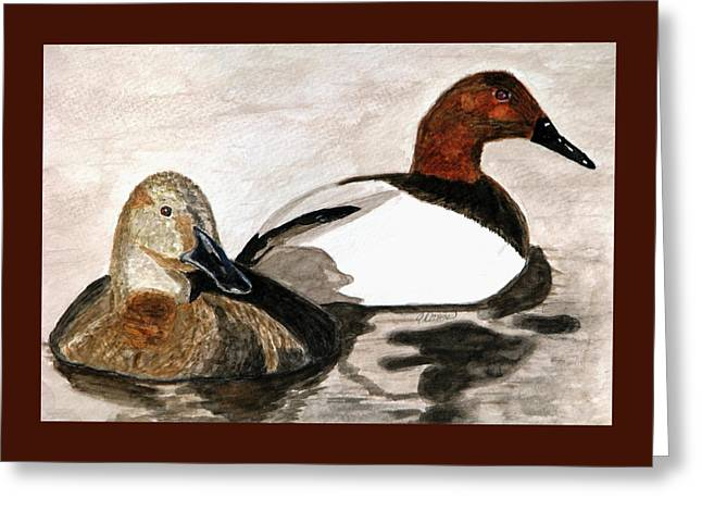 Canvasback Couple Greeting Card by Angela Davies