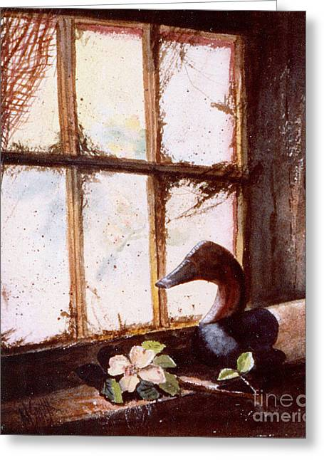 Netting Paintings Greeting Cards - Canvasback Decoy II Greeting Card by Marilyn Smith