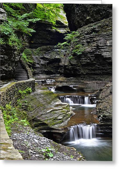 Reach Greeting Cards - Canyon Cascade Greeting Card by Frozen in Time Fine Art Photography