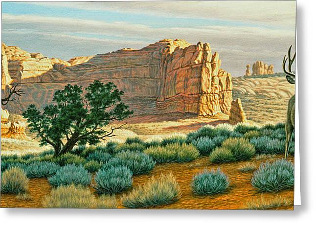 National Paintings Greeting Cards - Canyon Country Buck Greeting Card by Paul Krapf