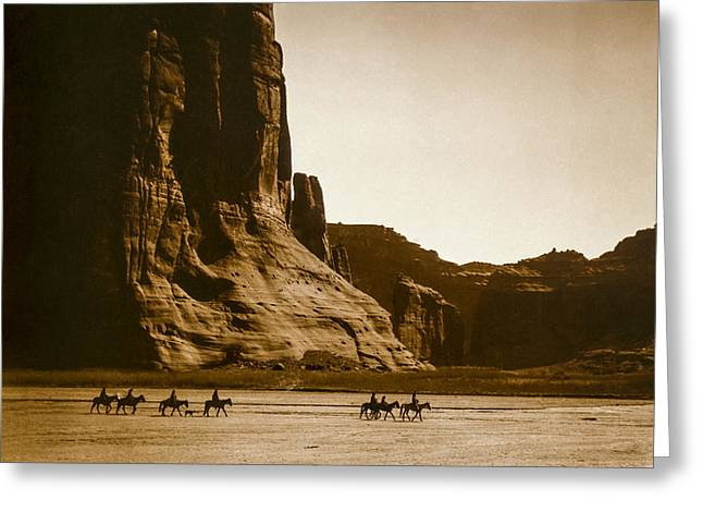 Horseback Photographs Greeting Cards - Canyon de Chelly circa 1904 Greeting Card by Aged Pixel