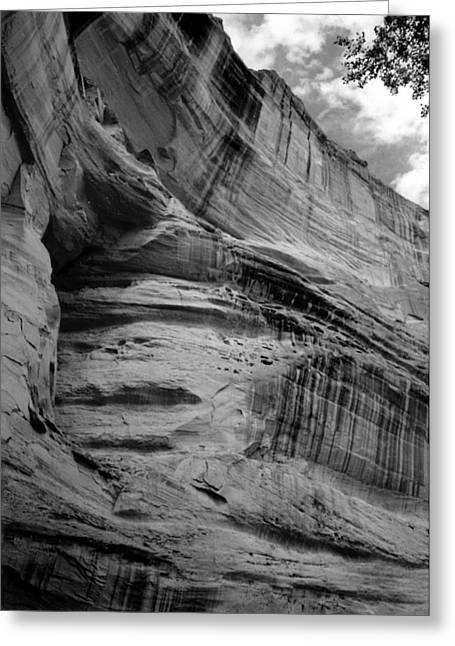 Del Muerto Greeting Cards - Canyon de Chelly  Cliff Curves B W 1993 Greeting Card by Connie Fox