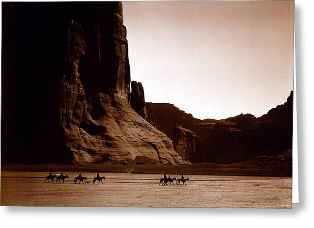 Canyon De Chelly Greeting Card by Edward S Curtis