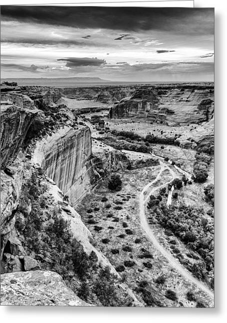 Dineh Greeting Cards - Canyon de Chelly Navajo Nation Chinle Arizona Black and White Greeting Card by Silvio Ligutti