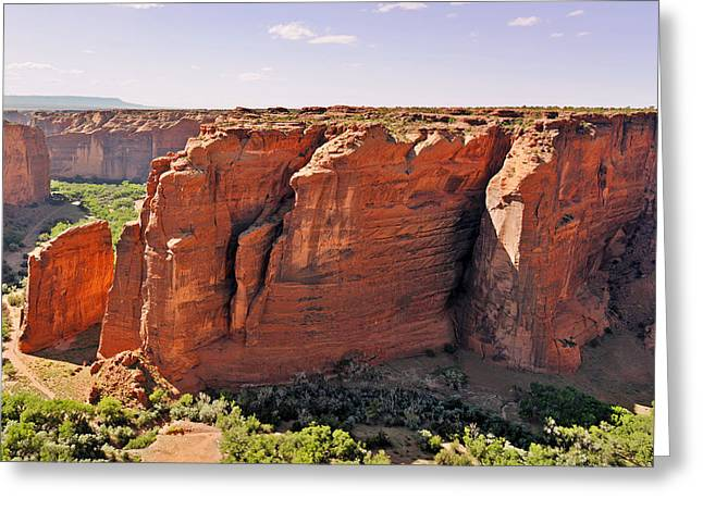 Cliffs Greeting Cards - Canyon de Chelly - View from Sliding House Overlook Greeting Card by Christine Till