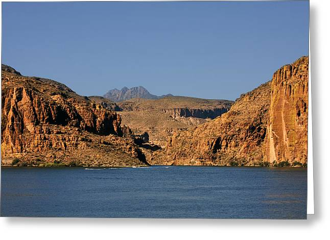 Salt Greeting Cards - Canyon Lake of Arizona - Land Big Fish Greeting Card by Christine Till