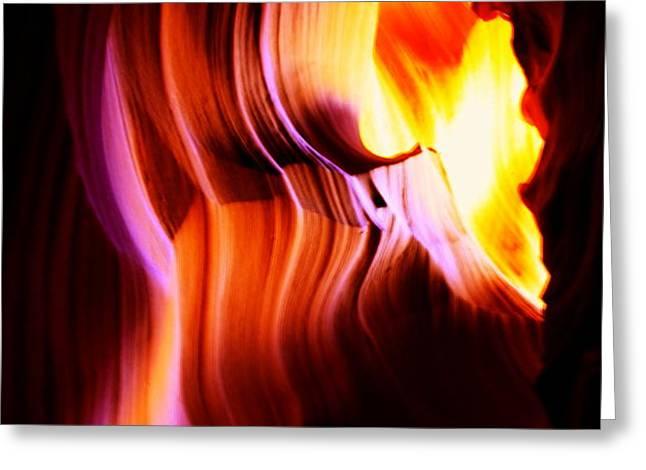 Canyon Light Curves - Canyon Abstract Greeting Card by Aidan Moran