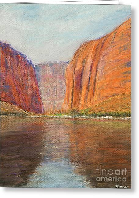 Hiking Pastels Greeting Cards - Canyon River Passage Greeting Card by Kate Sumners