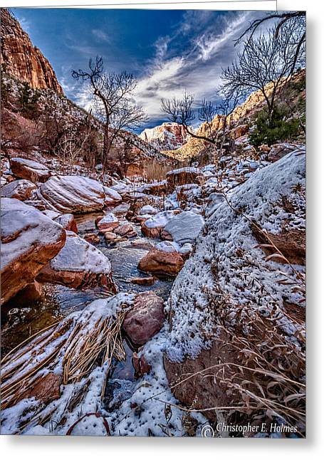 Canyon Stream Winterized Greeting Card by Christopher Holmes