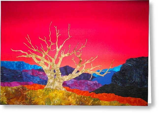 Southwest Tapestries - Textiles Greeting Cards - Canyon Sunrise with Juniper Snag Greeting Card by Deb  Goepfrich
