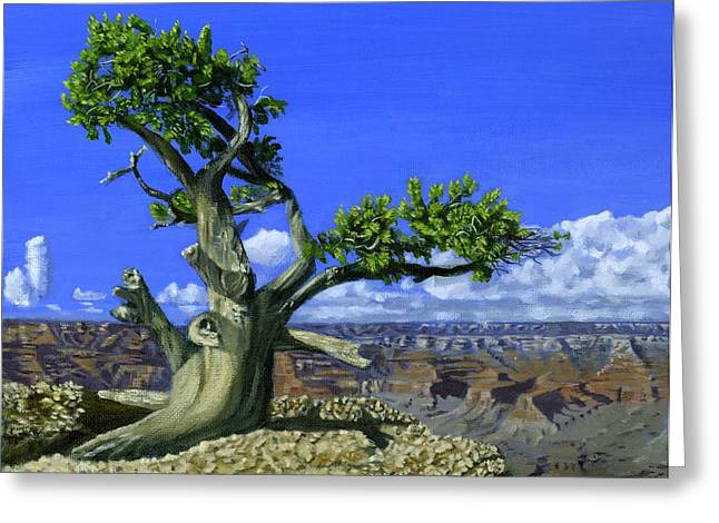 Phil Clark Greeting Cards - Canyon Tree Greeting Card by Phil Clark