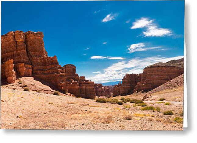Sand Castles Greeting Cards - Canyon under blue sky Greeting Card by Perfect Lazybones