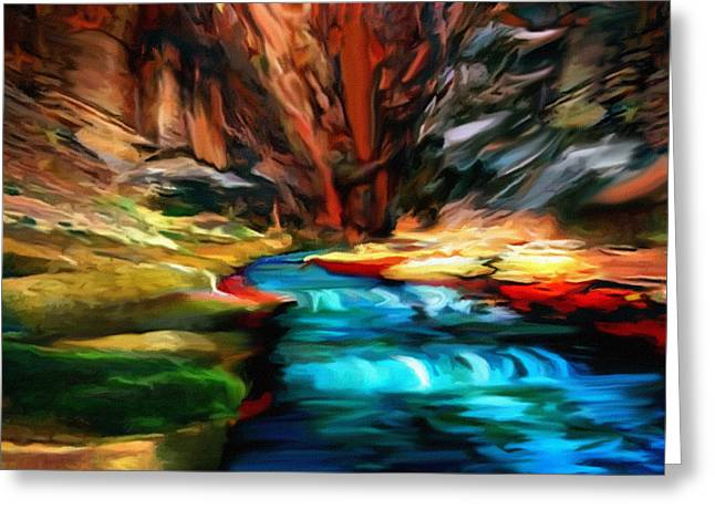 Desertview Greeting Cards - Canyon Waterfall Impressions Greeting Card by  Bob and Nadine Johnston
