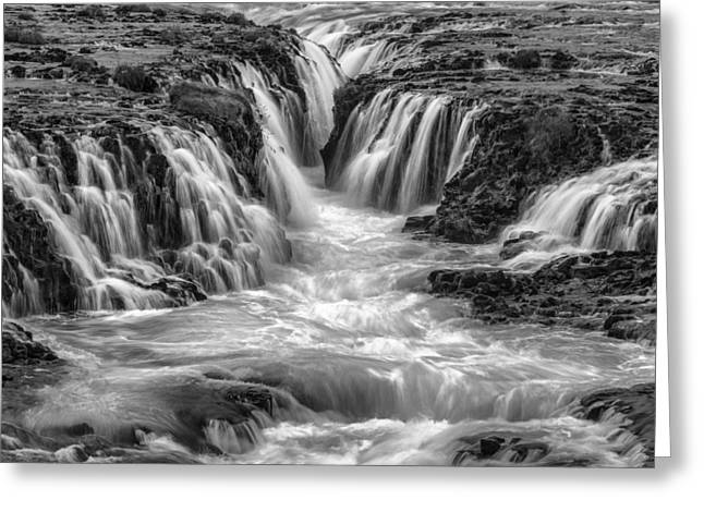 Black And White Waterfall Greeting Cards - Canyon Waters II Greeting Card by Jon Glaser