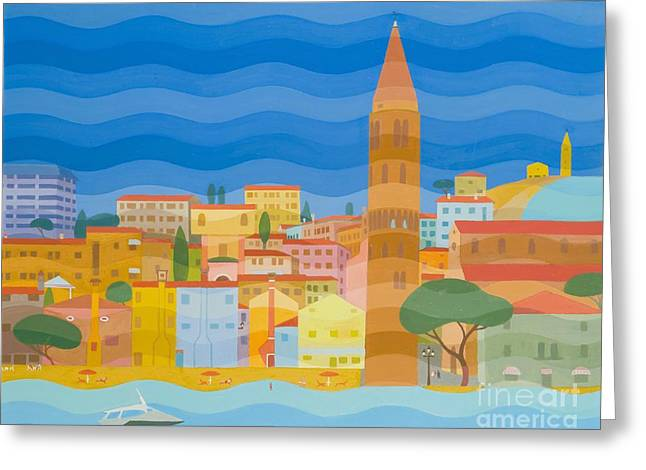 Seaside Heights Paintings Greeting Cards - Caorle Greeting Card by Emil Parrag