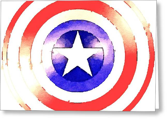 Captain America Paintings Greeting Cards - Cap Am Shield Greeting Card by Helge