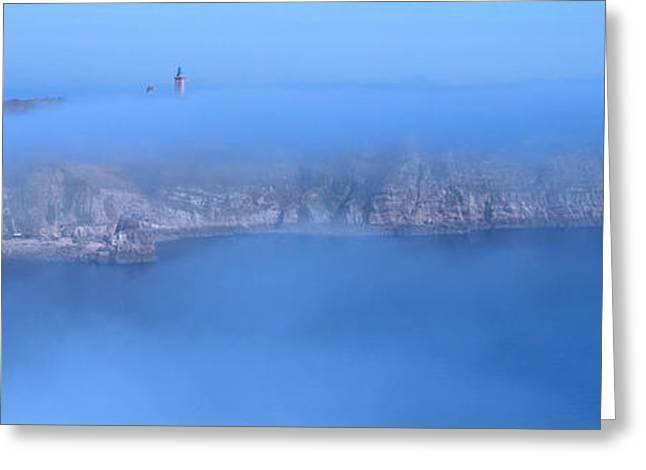 Morning Mist Images Greeting Cards - Cap Frehel In The Morning Mist Greeting Card by Panoramic Images