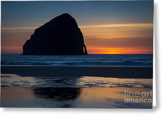 Surf Silhouette Greeting Cards - Cape Kiwanda Rock Greeting Card by Brian Jannsen