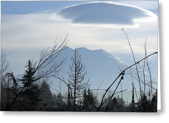 Keith Rautio Greeting Cards - Cap Over Mt. Rainier Greeting Card by Keith Rautio