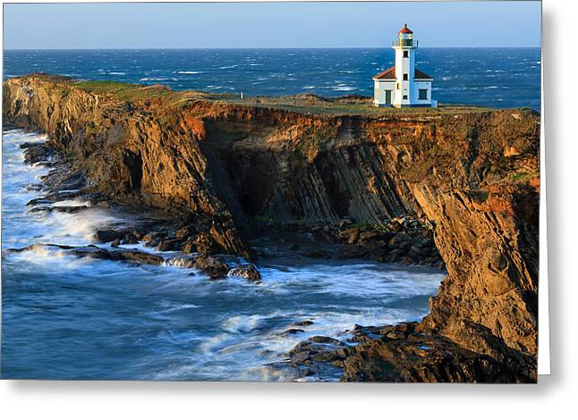 Coastal Lighthouses Greeting Cards - Cape Arago Lighthouse Greeting Card by Robert Bynum