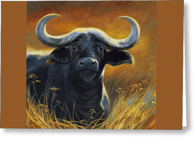 Outdoors Paintings Greeting Cards - Cape Buffalo Greeting Card by Lucie Bilodeau