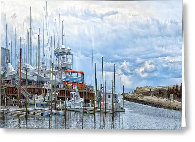 Harbor Sesuit Harbor Greeting Cards - Cape Cod Americana -Sesuit Harbor Greeting Card by Constantine Gregory